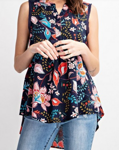 Navy Floral High Low Tank Top
