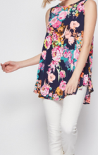 Load image into Gallery viewer, Navy Floral Tank Top