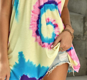 Yellow Criss Cross Tie Dye Tank Tunic