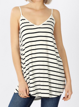 Load image into Gallery viewer, White w/Black Stripe Reversible Tank Top