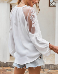White Blouse with Lace Accents