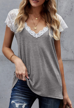 Load image into Gallery viewer, Heather Grey Lace Accent Top