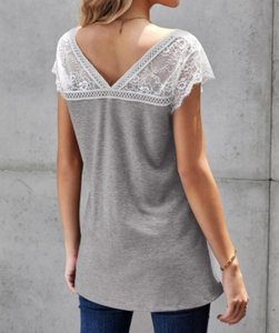 Heather Grey Lace Accent Top