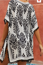 Load image into Gallery viewer, Black & White Tassel Hem Beach Cover Up