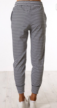 Load image into Gallery viewer, Pre-Order Black & White Pinstripe Joggers