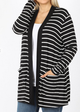Load image into Gallery viewer, Black with White Stripe Front Pocket Cardigan