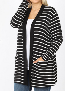 Black with White Stripe Front Pocket Cardigan