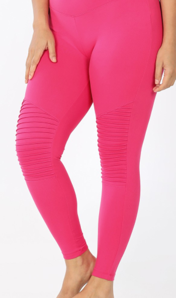Hot Pink Thick Waistband Moto Leggings