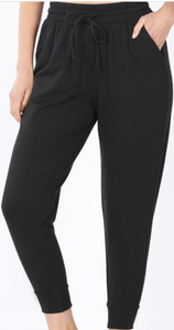 Black French Terry Capri Joggers