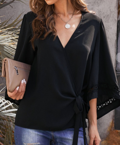 Black Crochet Trim Wrap Top