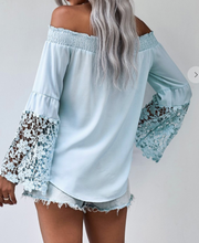 Load image into Gallery viewer, Off the Shoulder Crochet Sleeve Top