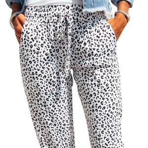 White Leopard Joggers