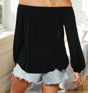 Black Embroidered Off Shoulder Boho Blouse