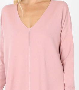Mauve Oversized High Low Sweater with Side Slits