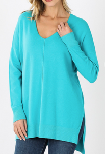 Ice Blue Oversized High Low Sweater with Side Slits