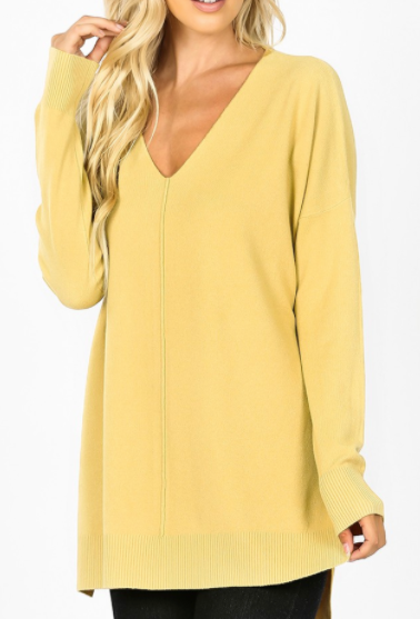 Light Mustard Oversized High Low Sweater with Side Slits