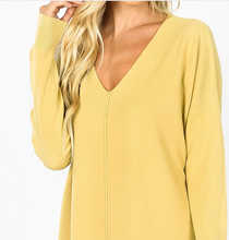 Load image into Gallery viewer, Light Mustard Oversized High Low Sweater with Side Slits