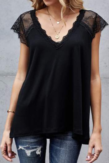 Black Lace Accent Top