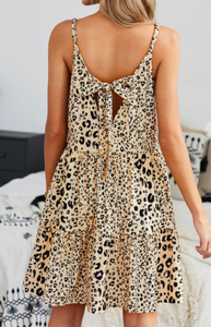 Apricot Leopard Tiered Tunic/Dress