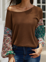 Load image into Gallery viewer, Brown Thermal Fun Sleeve Top