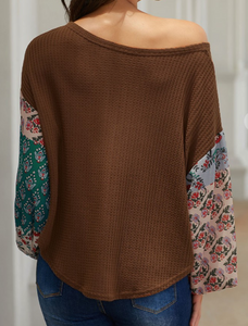 Brown Thermal Fun Sleeve Top
