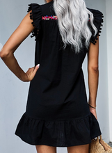 Load image into Gallery viewer, Black Boho Print Pompom Sleeve Shift Dress