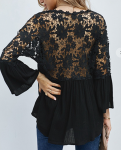 Re-Order Black Lace Top