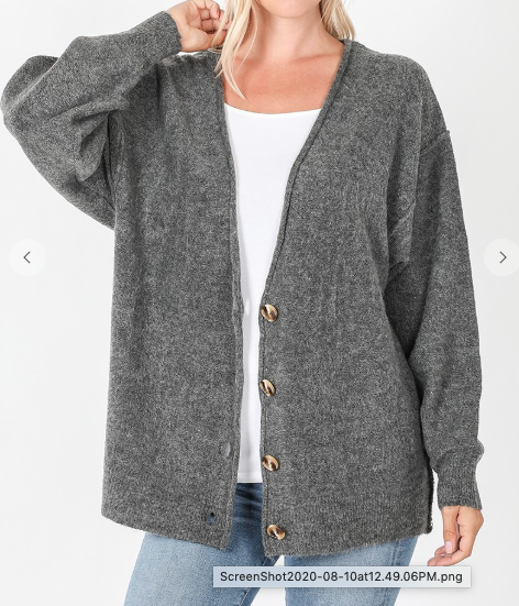 Charcoal Button Down Cardigan