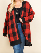 Load image into Gallery viewer, Buffalo Plaid Knit Cardigan