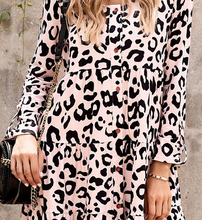 Load image into Gallery viewer, Neutral Leopard Tiered Dress
