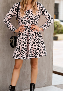Neutral Leopard Tiered Dress