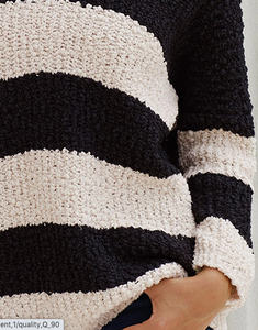 V-Neck Black & White Stripe Pop Corn Sweater