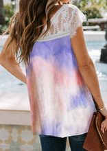 Load image into Gallery viewer, Pre-Order Purple Tie Dye Lace Accent Top