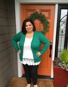 Green Long Sleeve Snap Cardigan