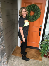 Load image into Gallery viewer, Short Sleeve Charcoal w/ Neon Detail Lightweight Sweatshirt Tunic