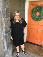 Load image into Gallery viewer, Black V-Neck Rolled Sleeve Dress with Pockets