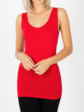 Ruby Red Scoop Neck Layering Tank
