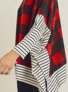 Red Buffalo Plaid Mock Neck Poncho Top with Striped Sleeve
