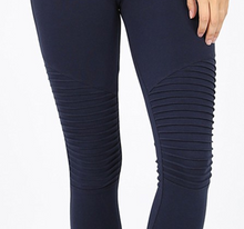 Load image into Gallery viewer, Navy Moto Leggings