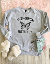 Load image into Gallery viewer, Heather Grey Anti Social Butterfly Sweatshirt