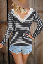 Load image into Gallery viewer, Pre-Order Stripe Double V Lace Accent Top