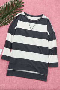 Black Striped Sweatshirt with Side Slit