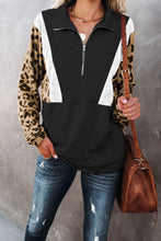 Load image into Gallery viewer, Pocketed Half Zip Leopard Pullover Sweatshirt