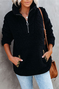 Pocketed Sherpa Pullover Sweatshirt