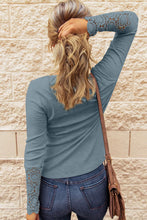 Load image into Gallery viewer, Pre-Order Blue Crochet Lace Hem Sleeve Button Top