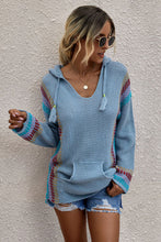 Load image into Gallery viewer, Pre-Order Long Sleeve Striped Hooded Sweater