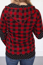 Load image into Gallery viewer, 1/4 Zip Red Buffalo Plaid & Dots
