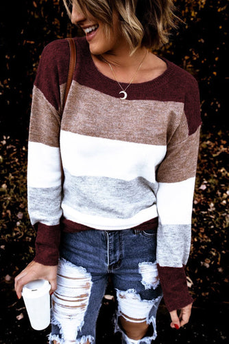 Pre-Order Burgundy Round Neck Color block Knitting Sweater