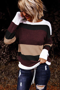 Pre-Order Burgundy/Purple Color Block Sweaters