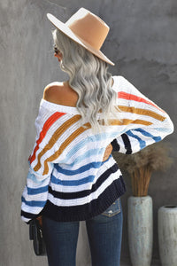 Pre-Order V-Neck Cable Knit Multi Stripe Sweater